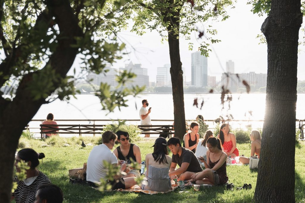 Group of 5 people picnic on banks of city river with the sun shining in the shade of trees.